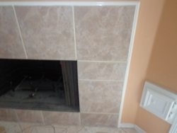 tile around fireplace