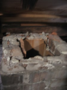 chimney in attic