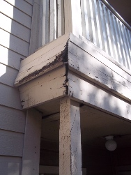moisture in porch structure