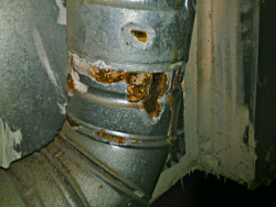 rust on the furnace vent